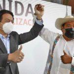 Mario Delgado, presidente de Morena y Salgado Macedonio, al momento de nombrarlo candidato.