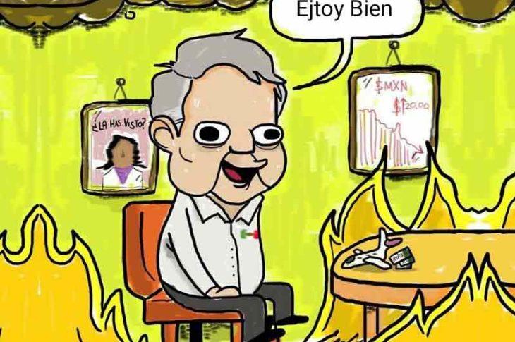 Meme de AMLO en un México en llamas.