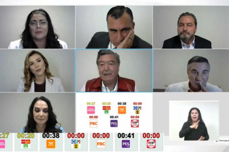 Captura de pantalla del debate de candidatos a gobernador de BC.