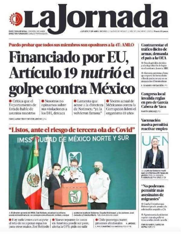 La Jornada, primera plana del 1ro de abril de 2021.