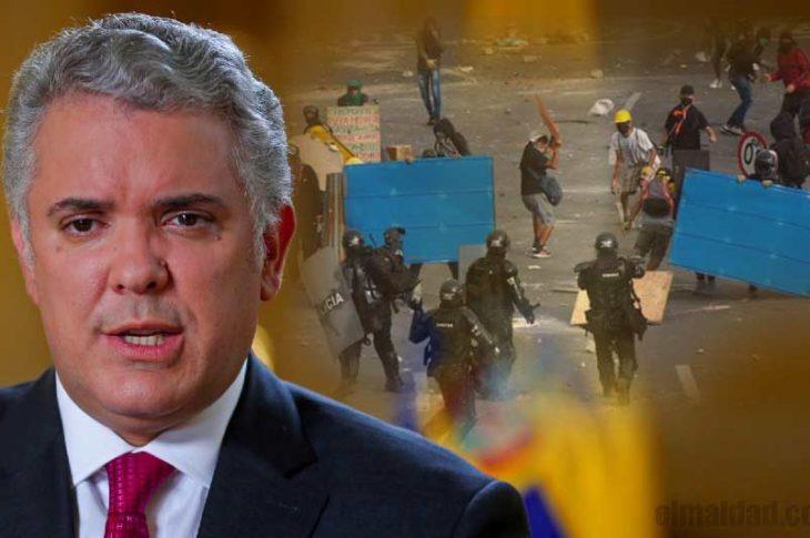 Iván Duque, presidente de Colombia con protestas.