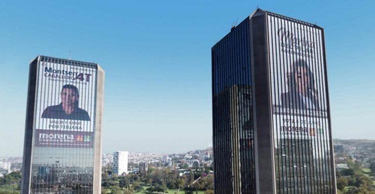 Espectaculares de Monserrat Caballero y Marina del Pilar en las torres de Tijuana,