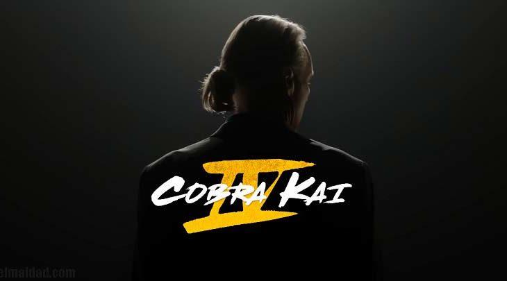 Captura de pantalla del promocional de Cobra Kai IV con logo de la temporada.