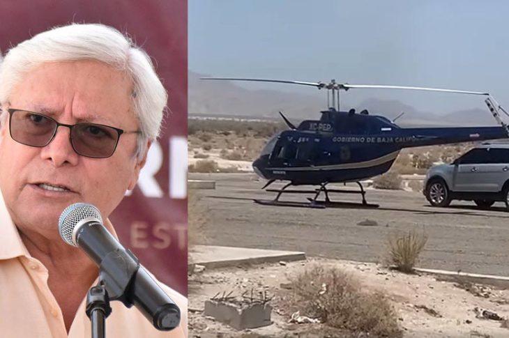 Jaime Bonilla y el helicóptero.