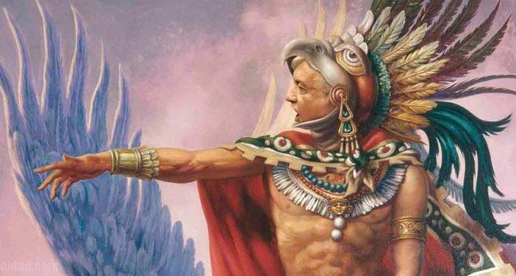 AMLO como guerrero águila.