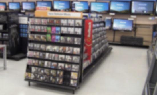 Estante de discos en Walmart.