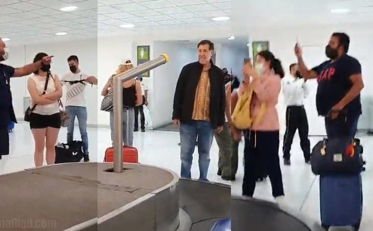 Noroña siendo increpado por ciudadanos en el aeropuerto de la CDMX.