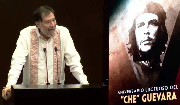 Diputado Fernández Noroña y la imagen del Che en San Lázaro.