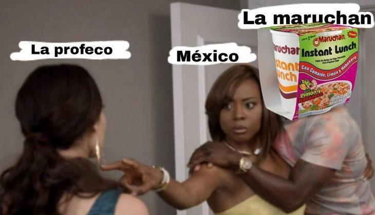 Meme sobre la Profeco, México y la sopa instantánea.