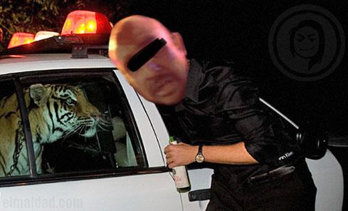 Meme del detenido por robo de patrulla de la policía de Mexicali.